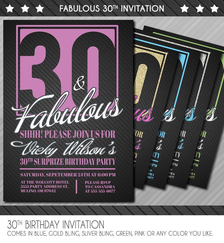 30th Birthday Invitation - Surprise 30th Birthday Invitation - 30th Birthday invite - 30th 40th 50th 60th 70th 80th 90th - Personalized by WolcottDesigns on Etsy