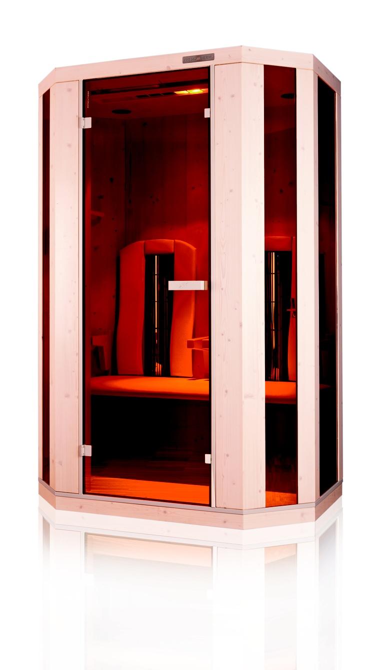 Die Hademar Bankhofer II deluxe Infrarotkabine mit digitalem Multimedia-Center,      Aromabad mit eigener Duftöl-Linie,      LED-Farblicht,      Vollspektrum - Sonnenlicht,      ergonomisch geformte Armlehnen und bewegliche Rückenlehnen,      Sitzbank und Rückenlehnen gepolstert   zwei Handtuchhalter mit Bankhofer-Badetuch und Halterung für Wasserglas,  Fußboden mit integrierter Thermozone (Fußboden weiß)