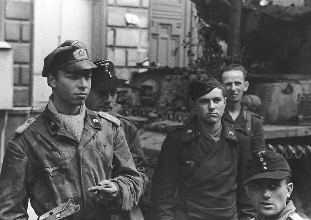 A German Army Panzer IV tank crew waiting orders (Normandy 1944)