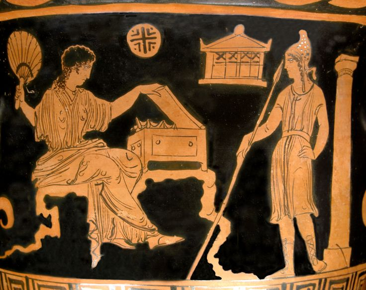 Helen and Paris. Side A from an Apulian (Tarentum?) red-figure bell-krater, 380–370 BC.