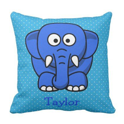 Custom Cute Funny Cartoon Elephant Throw Pillow - toddler youngster infant child kid gift idea design diy
