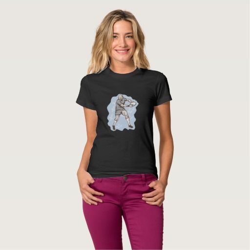 Rugby Player Running With Ball Tshirt. Rugby World Cup women's t-shirt designed with an illustration of a Rugby Player Running With Ball front on isolated background. #rwc #rwc2015 #rugbyworldcup