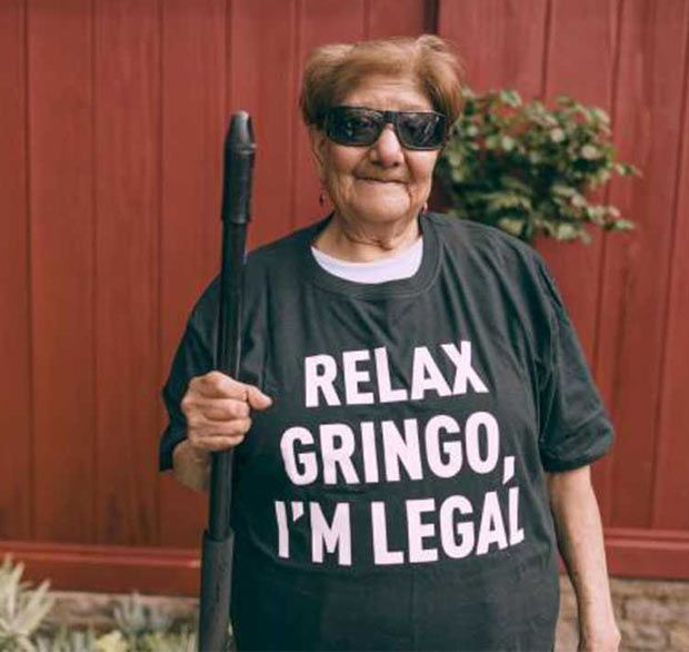 Hispanic Woman in Great Sarcastic T-Shirt Comeback ~ Relax Gringo, I'm Legal