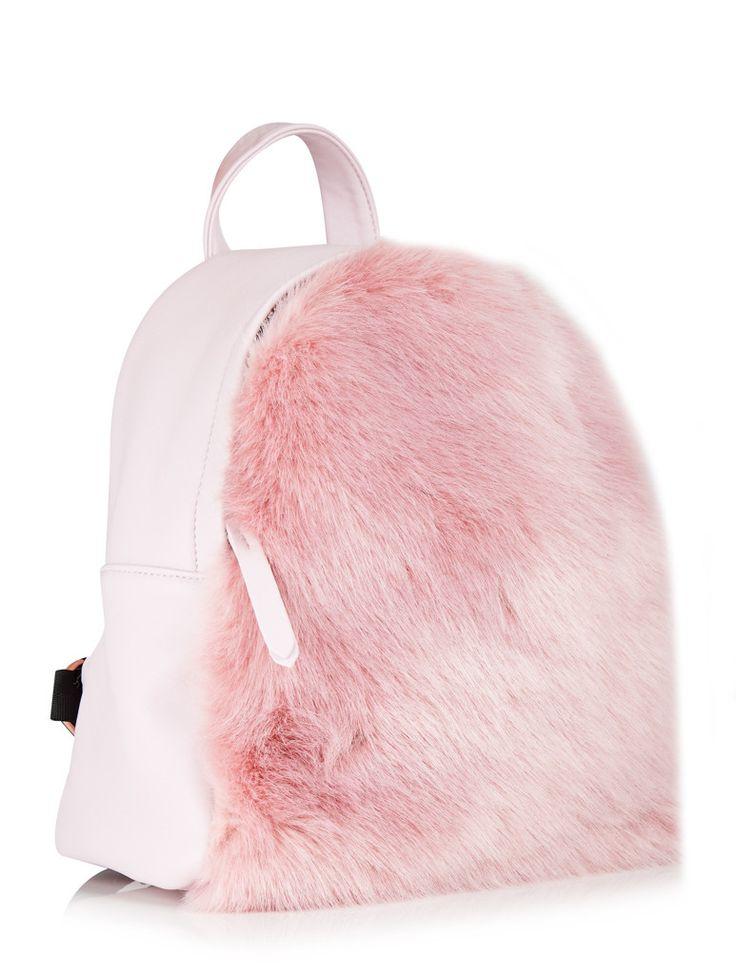 Skinnydip Charlie Pink Fur Mini Backpack