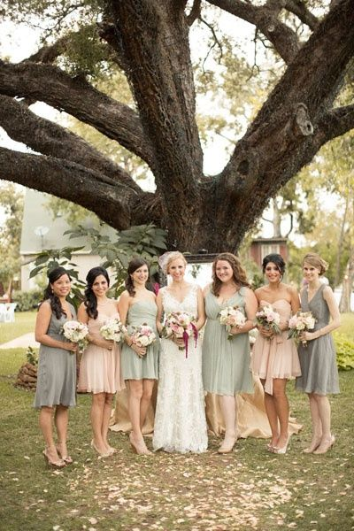 Multicolored bridesmaid dresses - blush, gray, and sage green