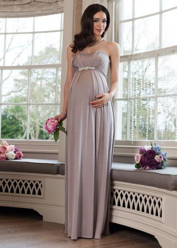 Stunning strapless Annabella floor length maternity gown in a delicious shade of Cappuccino has a gently boned bodice to give you the perfect shape in confidence and comfort.