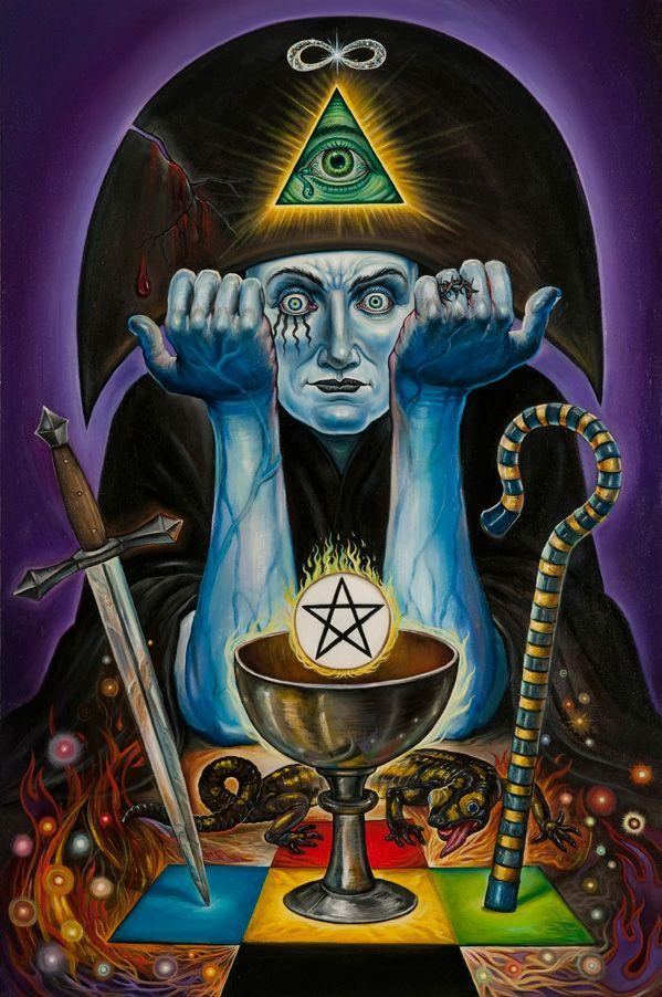 Magician LG Ulrich; el báculo de Osiris y el ojo dentro del triangulo: las tres fuerza en observación. El oro sale de la copa transmutado. Una muy acertada representación del mago en Ulrich.  Saber de Vida (Comunidad Facebook).