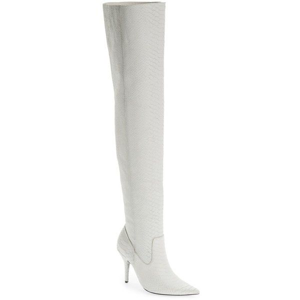 Women's Jeffrey Campbell Galactic Thigh High Boot ($310) ❤ liked on Polyvore featuring shoes, boots, white matte snake, white boots, over-the-knee leather boots, white thigh high boots, leather thigh boots and thigh high boots