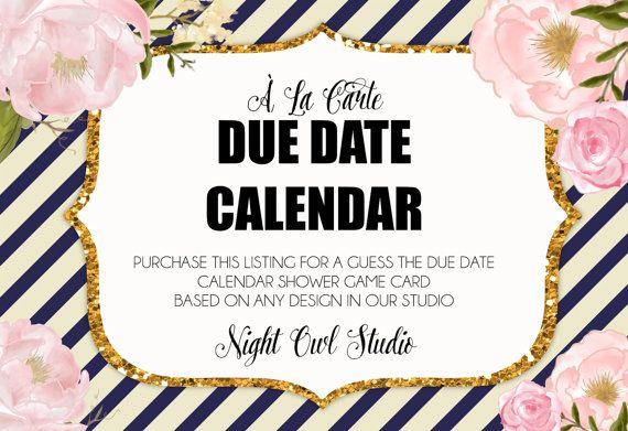 Due Date Calendar-À La Carte Baby Shower by NightOwlStudioDesign