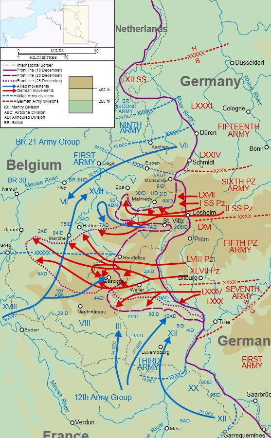 Battle of the Bulge 1944. I have it on good authority that there was never a hell such as this.