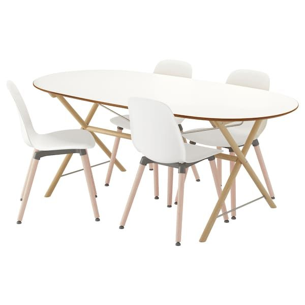 Slahult Dalshult Leifarne Mesa Con 4 Sillas Abedul Blanco Ikea Ikea Esszimmerstuhle Esstisch Stuhle Ikea