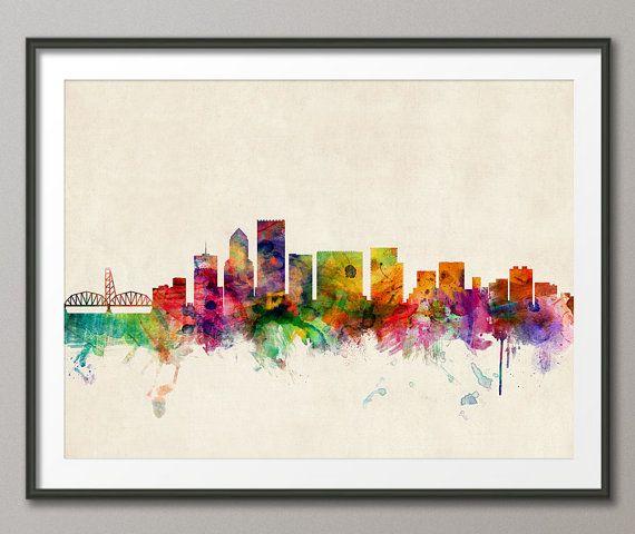 Portland Oregon Skyline Art Print  12x16 up to 24x36 by artPause, £12.99