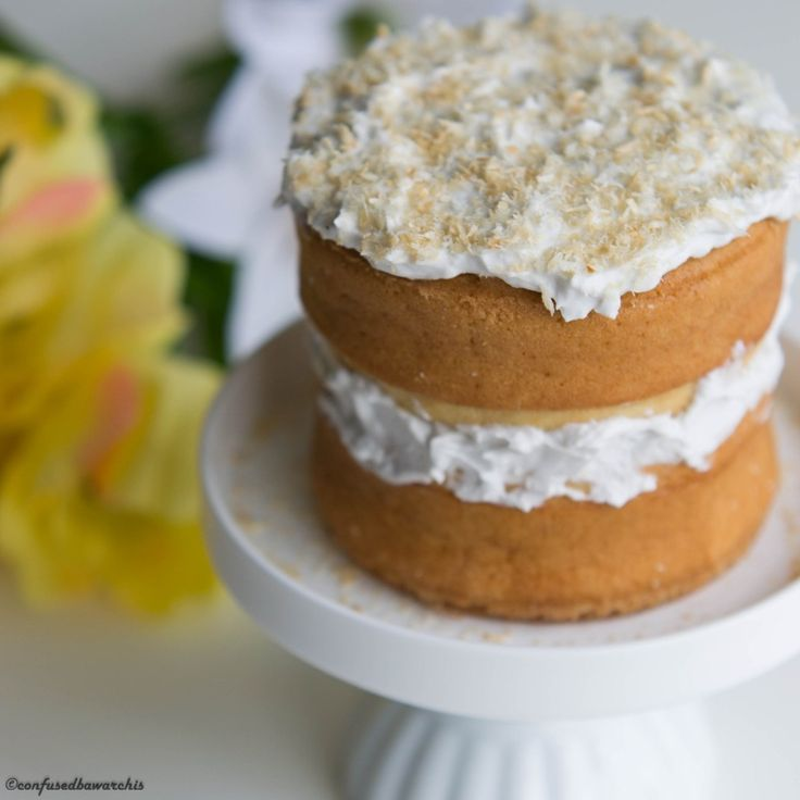Coconut Cream Cake with Coconut Cream Frosting - Confused Bawarchis