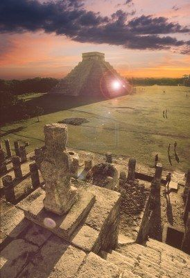 Sunset at the Great Pyramid in Chichen-itza. Ohh this looks awesome!  Can't wait to see this!  Sunset would be awesome!