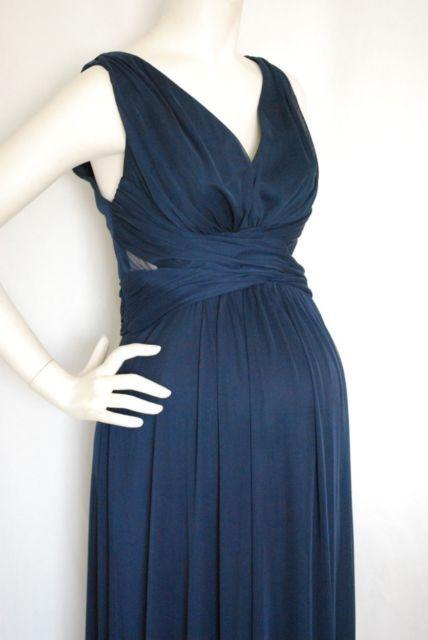 New Long Navy Blue Keyhole Side Maternity Dress Gown Chiffon SMALL Bridesmaid