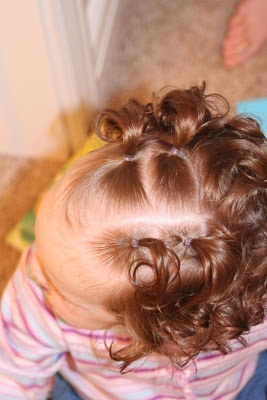 Hair Today: Piggies and Curls.  Different 'dos for curly hair.