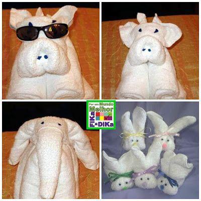 A arte de dobrar toalhas criando bichos ou objetos