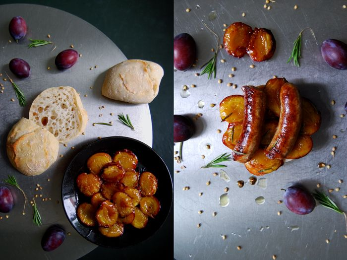 Caramelized Plum and Sausage Sandwich with Rosemary and Coriander Oil : eat in my kitchen