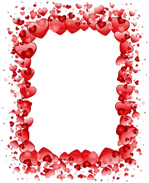 Valentine's Day Hearts Border Transparent PNG Clip Art Image