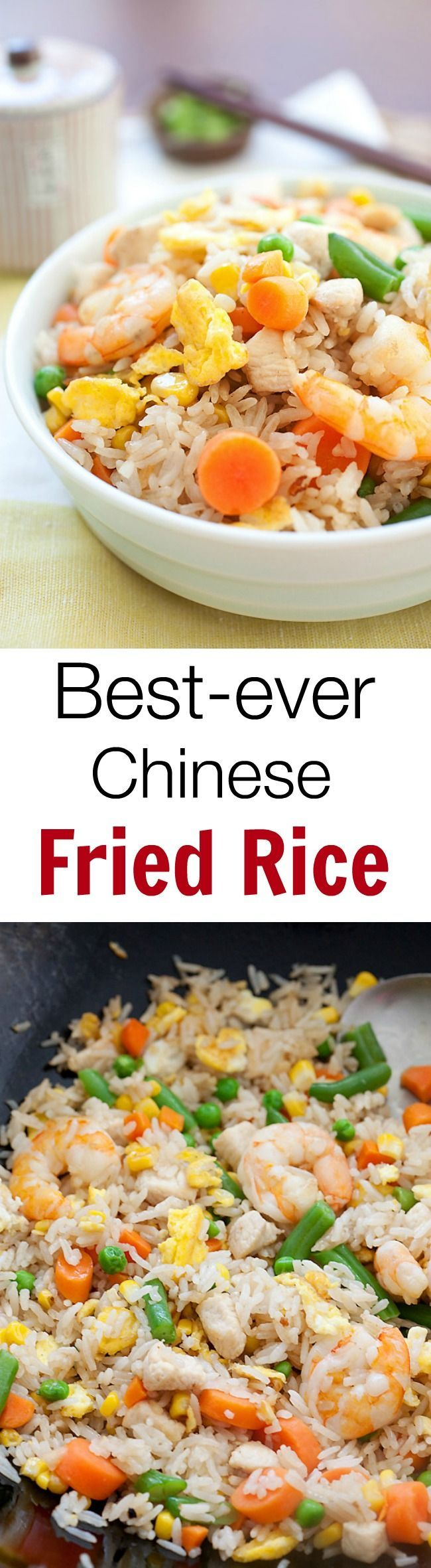 Fried Rice - easy Chinese fried rice recipe with rice, eggs, chicken, shrimp and tastes SO MUCH better than takeout!! | rasamalaysia.com
