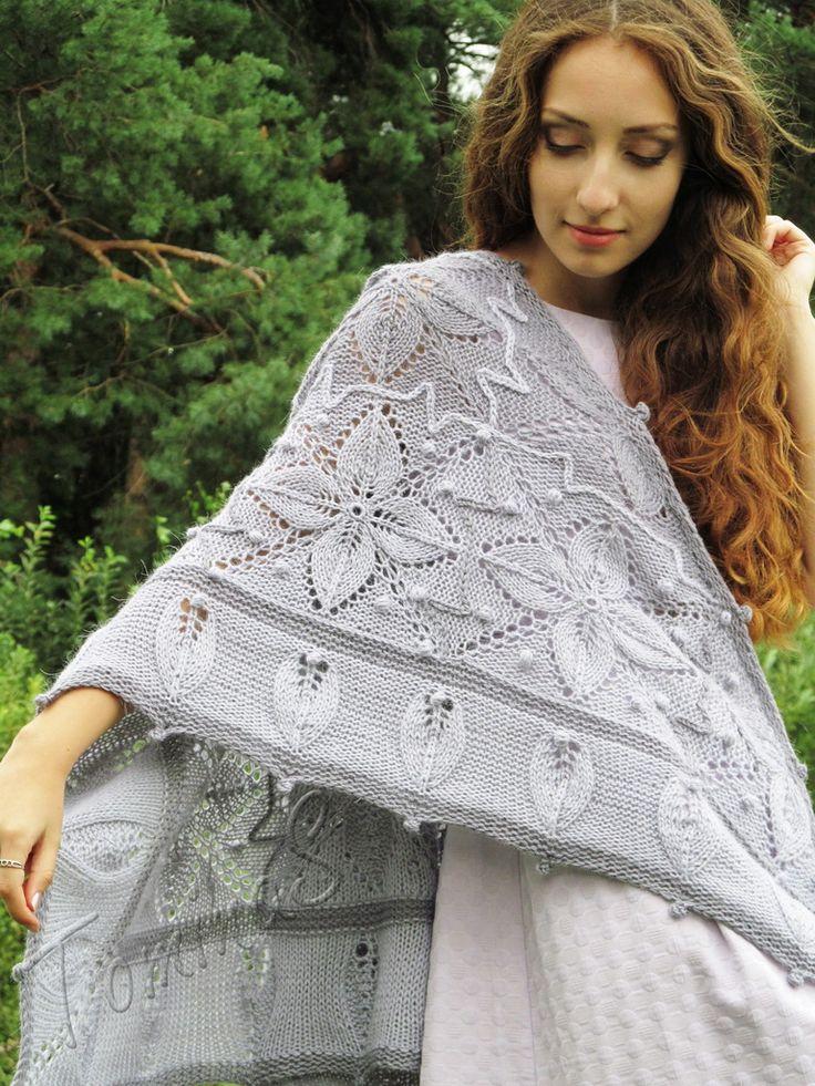 "Knit shawl ""Winter garden"" (knitted shawl, handmade wrap, knitting wool shawl, knit patchwork)"