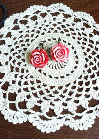 Raspberry ripple rose drops. Bird of Prey jewellery.