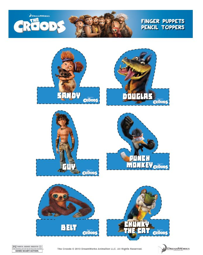 The Croods Printable Finger Puppets Pencil Toppers 2