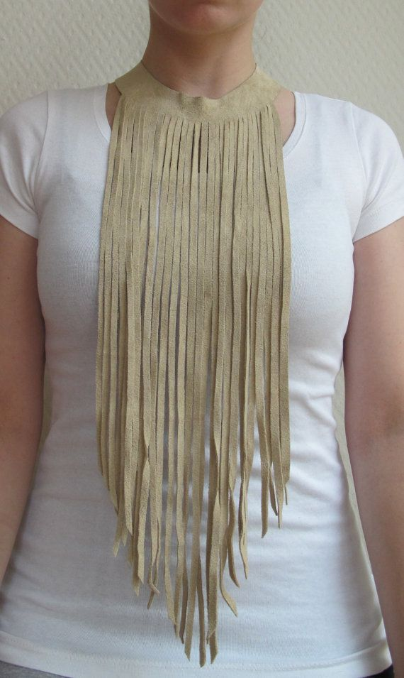 Long beige leather fringe necklace by MadeByLeave on Etsy