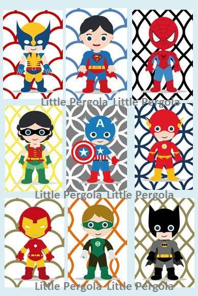 Superhero Digital Art Prints 5x7 set of 9 nine by LittlePergola