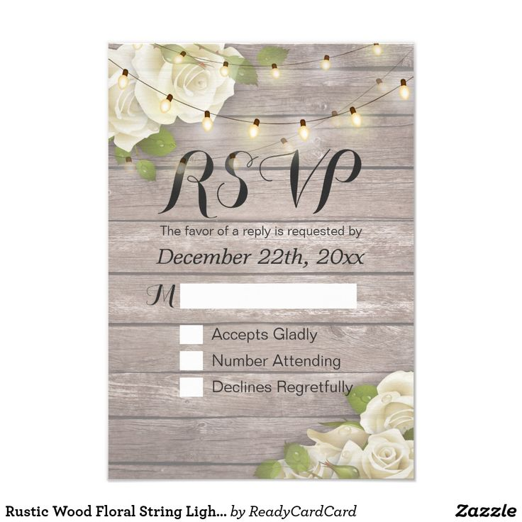 Rustic Wood Floral String Light Wedding RSVP Reply Card Wedding RSVP Reply Card Templates - Faux Gold Foil Script with White Roses Floral and String Lights on Rustic Wood Background. A Perfect Design For Your Big Day! All Text Style, Colors, Sizes Can Be Modified To Fit Your Needs.