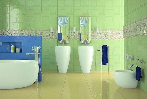 the refreshing Mediterranean style bathroom design.