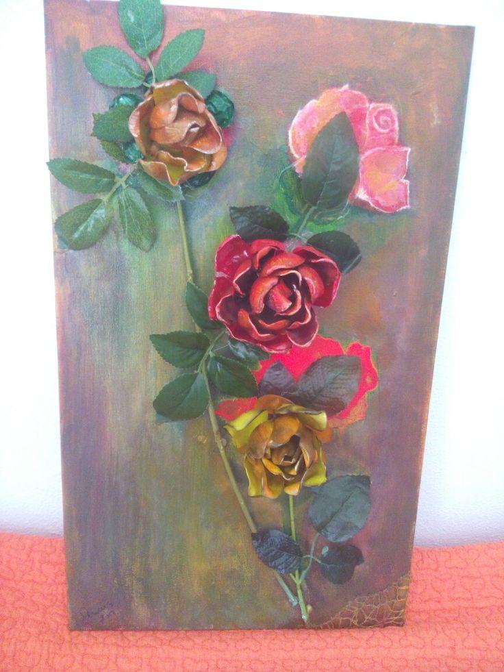 Quadro 3D con Rose realizzate a mano.