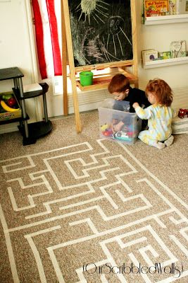 Masking Tape Maze - This would be great for small, quiet movement on cold or rainy days! (Our Scribbled Walls)