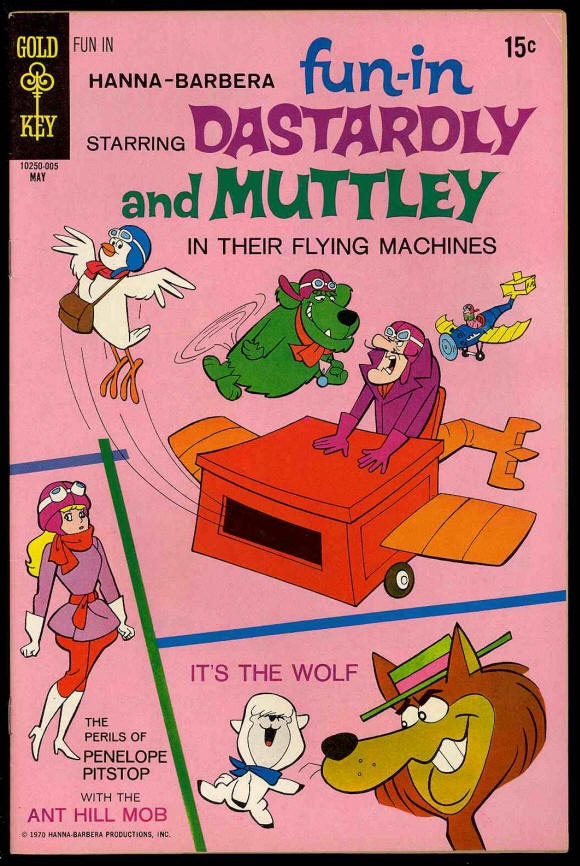 Chuck's Stuff has this Hanna-Barbera's Fun-In comic #2 for sale for $9. Very Fine- 7.5, details on site. Dastardly & Muttley, Penelope Pitstop, and It's The Wolf stories. 1970's Gold Key. Save 30% if you buy all 8 issues listed on site. If re-pinning, you can edit the description if you want. #comicbooks #hannabarbera