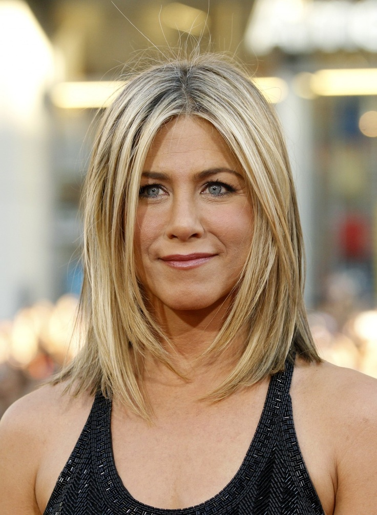 #Jennifer #Aniston #shoulderlength hair  #movement #highlightes #sleek with texture #layers around the face #easy to maintain