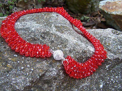 byZuzana / náhrdelník - kryštálový červený