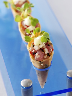 Clever serving suggestion for tuna cone canapes