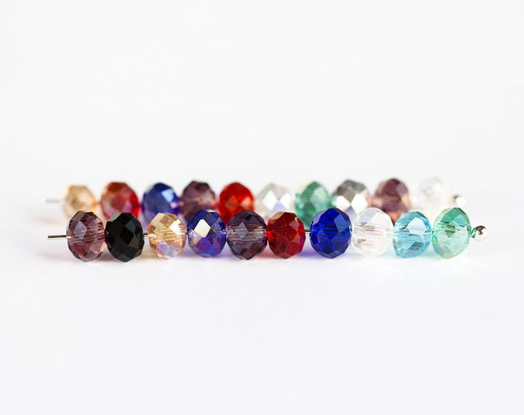 2390_Multicolor glass beads 6x4 mm, mixed roundel beads, Multi colored crystal beads, Faceted glass beads, Rondelle glass beads_95 pcs. by PurrrMurrr on Etsy