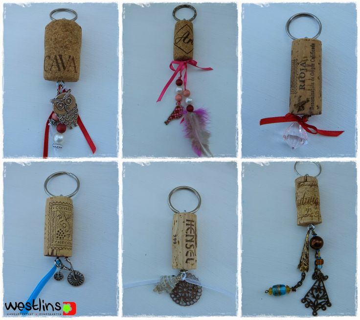 Schlüsselanhänger aus Weinkorken / Key rings made from wine corks / Upcycling