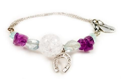Aquamarine, amethyst, calcedony and horseshoe charm bracelet. Perfect for parties, summer time and gift for her.