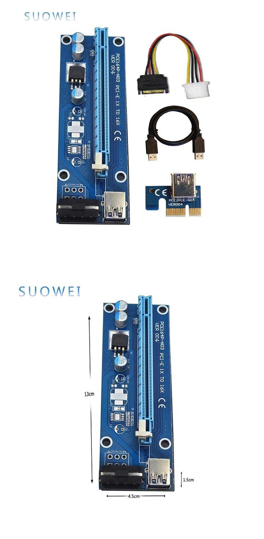 [Visit to Buy] SUOWEI VER004  Azul Extensor PCI-E 1x a 16x Riser Card PCI Express 60 cm USB 3.0 Cabo SATA para IDE Poder 6Pin para BTC Mineiro #Advertisement