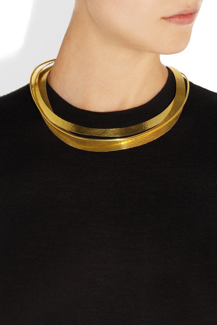 Hervé Van der Straeten|Hammered gold-plated collar necklace|NET-A-PORTER.COM