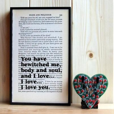 Pride and Prejudice Mr Darcy 'you have bewitched me' Framed Book Page Print by White Mint