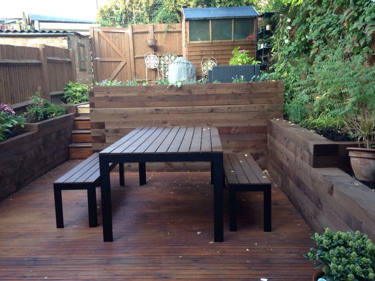 Victorian small garden. Ikea garden table chairs and decking. Garden on levels. Railway sleepers