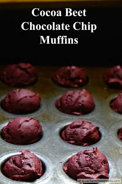 Cocoa Beet Chocolate Chip Muffins (Monday Muffins!). Get the look of Red Velvet without food coloring in these yummy treats.
