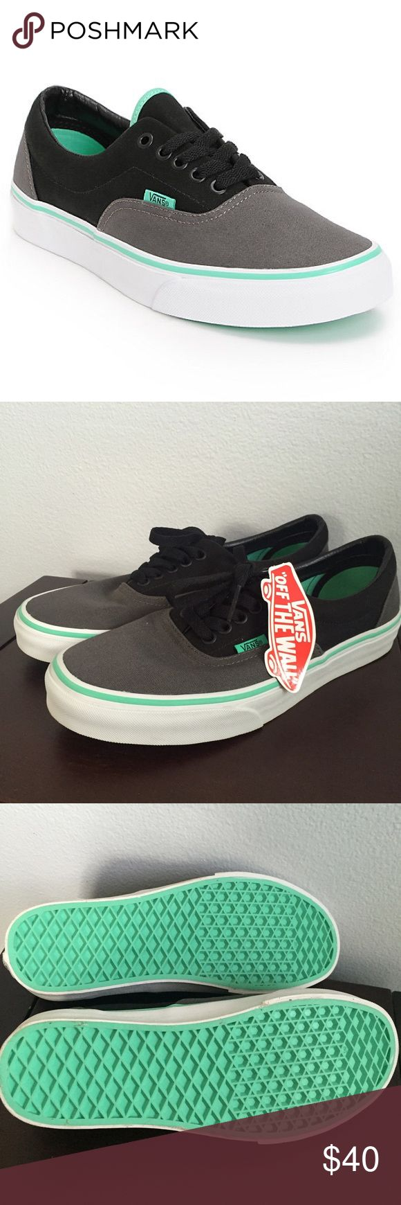 NWT Vans Era Grey, Black, & Mint Green Skate Shoes These are the same shoes in my other listing!! Since they are unisex, I made this post reflecting the men's size as well. I do not have two available, only this one pair. Vans Shoes Sneakers