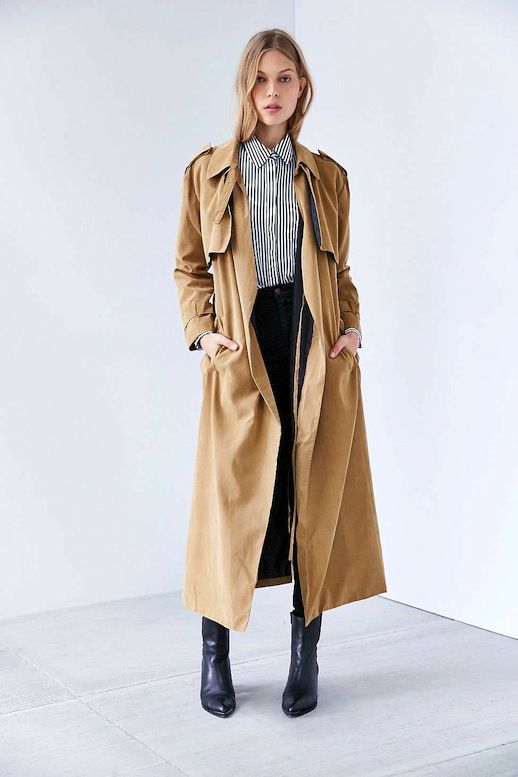 Le Fashion Blog Long Trench Coat Stripe Button Down Dark Denim Point Toe Ankle Boots Via UO