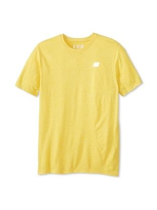 50% OFF New Balance Men's Heathered Short Sleeve Top (Atomic Yellow)