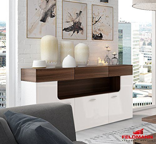 Sideboard Anrichte Kommode 161035 3trg weiß matt / weiß Hochglanz - nussbaum