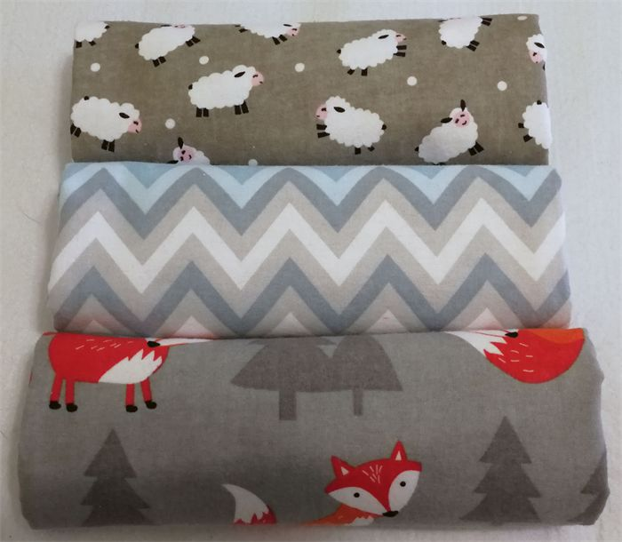 Flannelette wrap / swaddle / receiving blanket, pack of three. Foxes & Sheep.